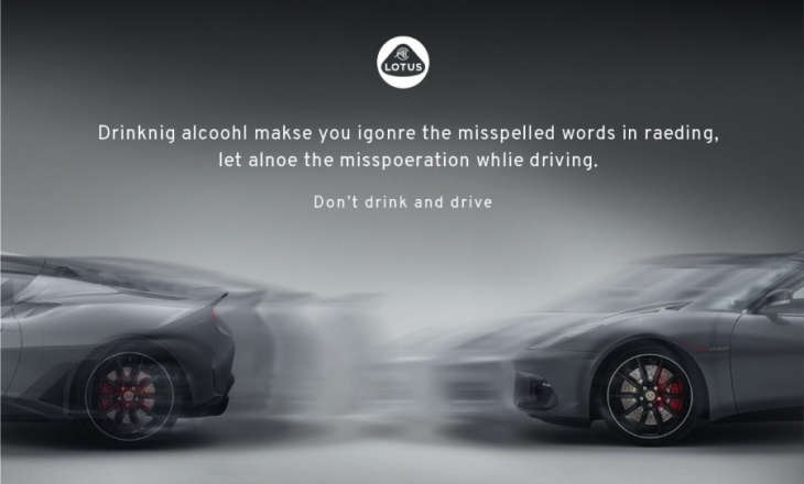 """Don't drink and drive"" Lotus print ads"