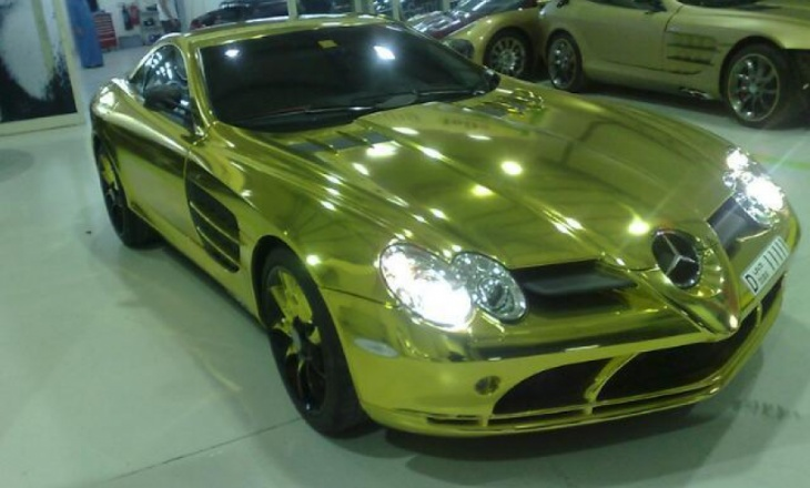 Gold Mercedes SLR McLaren in Dubai